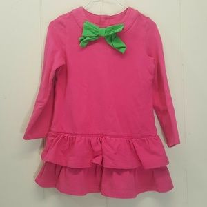 Hanna Andersson 100 Dress Pink Green Bow Tiered